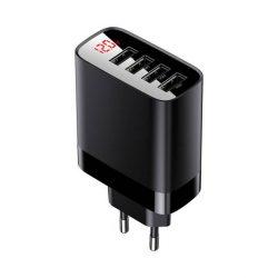 Baseus Mirror Lake Digital Display 4x USB töltő 30W 6A EU fekete (CCJMHB-B01)