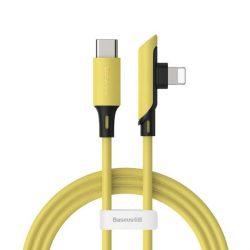 Baseus Színes könyök szögben kábel oldali csatlakozóval USB Typ C PD 18W - Lightning 1,2m sárga (CATLDC-A0Y)