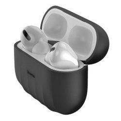 Baseus Shell Silica Gel tok fólia Apple Airpods Pro fekete (WIAPPOD-BK01) telefontok hátlap tok