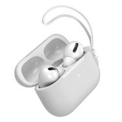 Baseus Let 'menjünk AirPods Pro tok Silica Gel fólia Airpods Pro + mini nyakpánt fehér (WIAPPOD-D02)