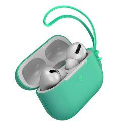 Baseus Let 'menjünk AirPods Pro tok Silica Gel fólia Airpods Pro + mini nyakpánt zöld (WIAPPOD-D06)