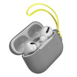 Baseus Let 'menjünk AirPods Pro tok Silica Gel fólia Airpods Pro + mini nyakpánt szürke (WIAPPOD-D0G)