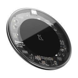 Baseus egyszerű gyors vezeték nélküli töltő (frissített verzió) Qi 15 W átlátszó (WXJK-BA02)