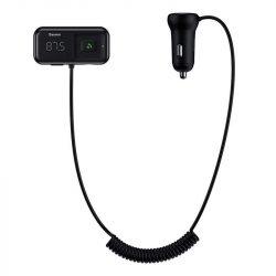 Baseus S-16 FM Transmitter Bluetooth 5.0 2x USB autós töltő AUX MP3 TF micro SD 3,1 A fekete (CCTM-E01)