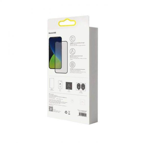 Baseus 2x Teljes képernyő 0,25 mm matt edzett üveg tempered glass kerettel iPhone 12 Pro / iPhone 12 Fekete (SGAPIPH61P-KM01) üvegfólia