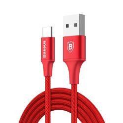 Baseus Rapid Kábel tartós nylon fonott C típusú USB LED fény 2A 1m piros (CATSU - B09)