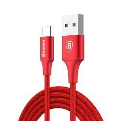Baseus Rapid Kábel tartós nylon fonott C típusú USB LED fény 2A 2m piros (CATSU - C09)