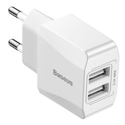 Baseus Mini Dual - U töltő adapter fali töltő 2x USB 2.1A fehér (CCALL - Mn02)