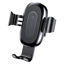 Baseus vezeték nélküli töltő Gravity Autós tartó Phone Bracket Air Vent Holder + Qi töltő fekete (WXYL - 01) tok telefon tok hátlap