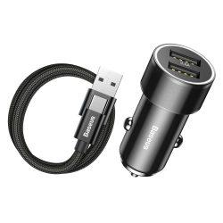 Baseus kis csavar 3.4A Univerzális Smart autós töltő 2 USB + C típusú USB - kábel 1m 2A fekete (TZXLD - B01)