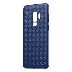 Baseus BV Weaving telefon tok telefontok Gel TPU telefon tok Weave Texture Design for Samsung Galaxy S9 Plus G965 kék (WISAS9P-BV15)