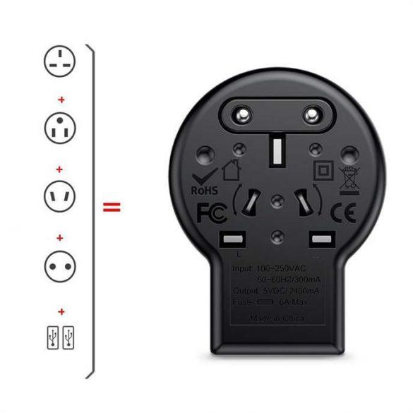 Baseus forgás Type Travel Adapter univerzális töltő EU UK US