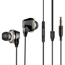 Baseus Encok H10 fülhallgató Fülbe vezetékes fejhallgató Dupla-mozgó-tekercsel fekete (NGH10-01)