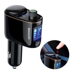Baseus mozdony Bluetooth FM Transmitter MP3 autós töltő 2 USB 3.4A fekete (CCALL - RH01)
