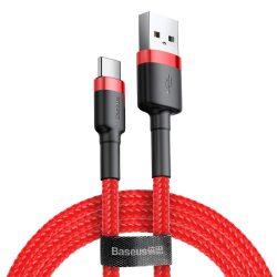 Baseus Cafule Kábel tartós nylon litzehuzal USB / USB-C QC3.0 2A 2M piros (CATKLF-C09)