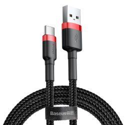 Baseus Cafule Kábel tartós nylon litzehuzal USB / USB - C QC3.0 2A 2M fekete - piros (CATKLF - C91)
