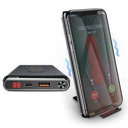 Baseus vezeték nélküli töltő Qi Power Bank 10000 mAh 15W type-c USB - PD + Quick Charge 3.0 QC 3.0 por tok fekete (WXHSD - D01)
