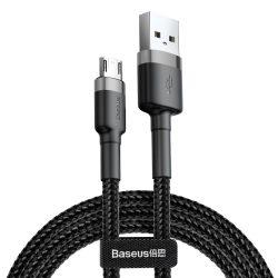 Baseus Cafule Kábel tartós nylon fonott USB / micro USB QC3.0 2.4a 1M fekete - szürke (CAMKLF - BG1)