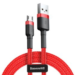 Baseus Cafule Kábel tartós nylon fonott USB / micro USB QC3.0 1.5A 2M piros (CAMKLF - C09)