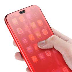 Baseus érinthető telefon tok hátlap tok Gel TPU Flip Cover Gel edzett üveg előlap iPhone XS / X piros (WIAPIPH58-TS09) kijelzőfólia üvegfólia tempered glass