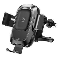 Baseus Smart jármű Konzol vezeték nélküli töltő Elektromos Auto Lock autós tartó Phone Bracket Air Vent Holder Qi töltő infravörös érzékelő fekete (WXZN - 01) tok telefon tok hátlap