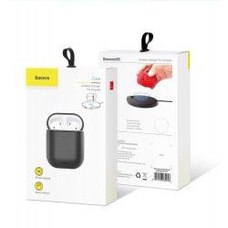 Baseus AirPods vezeték nélküli töltő tok telefontok hátlap Szilikon védőtok telefontok hátlap tok vezeték nélküli töltési funkció Apple AirPods fejhallgató (WIAPPOD-01), fekete