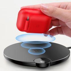 Baseus AirPods vezeték nélküli töltő tok Szilikon védő tok vezeték nélküli töltési funkció Apple AirPods fejhallgató (WIAPPOD - 09) piros