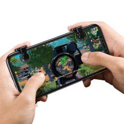 Baseus Red-Dot Mobile játék pontozása eszköz Extra gombok bumperk Smartphone játékosok számára fekete (ACHDCJ-01)