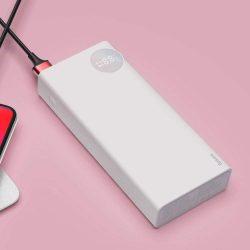 Baseus Mulight Power Bank külső akkumulátor 20000 mAh a feszültség / teljesítmény megjelenítése PD3.0 QC3.0 fehér (PPALL-MY02)