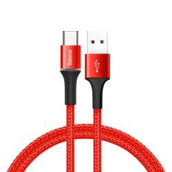Baseus Halo adatkábel tartós nylon fonott USB / USB - C LED 3A 0,5M piros (CATGH - A09)