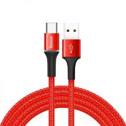 Baseus Halo adatkábel tartós nylon fonott USB / USB-C LED 2A 2M piros (CATGH-C09)