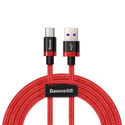 Baseus Lila Arany Red USB / USB - C kábel Nylon zsinór túltöltés 40W Quick Charge 3.0 QC3.0 2M piros (CATZH - B09)