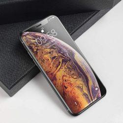 Baseus Merev élű edzett üveg Mat 3D képernyővédő fólia 0,3 mm-es, megerősített keret Apple iPhone XS / X fekete (SGAPIPH58-KM01) kijelzőfólia üvegfólia tempered glass