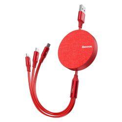 Baseus Fabric visszahúzható USB - micro USB / Lightning / USB-C kábel 3.5A 1,2m piros (CAMLT-BY09)