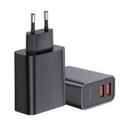 Baseus Speed Dual QC3.0 Gyorstöltő U + U 30W EU Fekete (CCFS-E01)