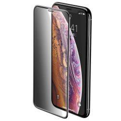 Baseus Teljes képernyős teljes képernyős (full screen) 3D edzett üveg Film Privacy Filter és hangszóró Dust fólia Apple iPhone XS / X fekete (SGAPIPH58-WC01) kijelzőfólia üvegfólia tempered glass