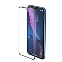 Baseus Teljes képernyős teljes képernyős (full screen) 3D edzett üveg Anti-Blue Light Film hangszóró Dust fólia Apple iPhone XR fekete (SGAPIPH61-WB01) kijelzőfólia üvegfólia tempered glass