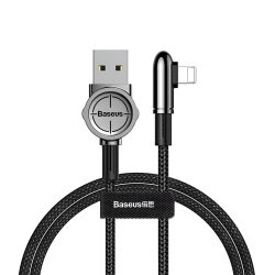 Baseus Exciting mobil Play kábel USB - Elbow Cable USB / Lightning nylon zsinór 2.4a 1m fekete (CALCJ - A01)