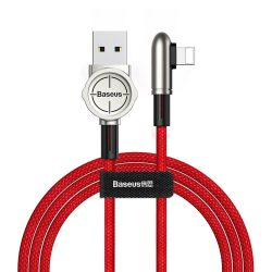 Baseus Exciting mobil Play kábel USB - Elbow Cable USB / Lightning nylon zsinór 1.5A 2m Red (CALCJ - B09)