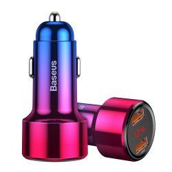 Baseus Magic széria Dual QC töltő digitális kijelző 2x USB QC3.0 45W 6A Red (CCMLC20A - 09) autós töltő