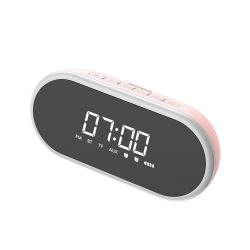 Baseus Encok E09 Stílusos hordozható vezeték nélküli Bluetooth hangszóró ébresztőóra és LED lámpa rózsaszín (NGE09 - 04)