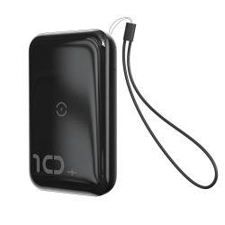 Baseus Mini S Konzol Power Bank 10000mAh 18W vezeték nélküli töltő Qi 10W fekete (PPXFF10W - 01)