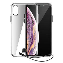 Baseus Átlátszó kulcs tok iPhone XS / X fekete (WIAPIPH58 - QA01) tok telefon tok hátlap