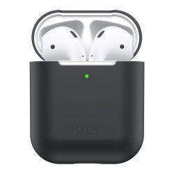 Baseus Ultravékony széria Silica Gel fólia Airpods 1/2 fekete (WIAPPOD - BZ01) tok telefon tok hátlap