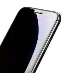 Baseus 0.23mm hajlított képernyős edzett üveg tempered glass tempered glass tempered glass ütésálló élek és betekintésvédett iPhone 8 Plus / iPhone 7 Plus fekete (SGAPIPH8P-ATG01)