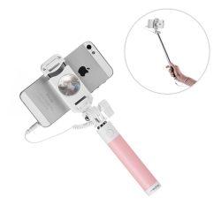PRODA szelfi stick egylábú kábel - mini jack és exponáló gomb rózsaszín telefon tok telefontok (hátlap)