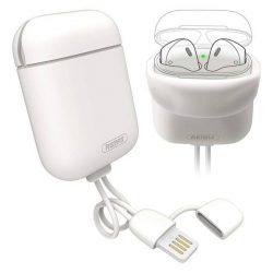 Remax AirPods tok Silica Gel fólia Airpods 1/2 + USB Lightning kábel / horog fehér telefontok hátlap tok