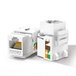 Ugreen árnyékolatlan hálózati modulok Keystone Ethernet Cat 5e 8P8C RJ45 100 Mbps 568A / B, fehér (80.176 NW142)