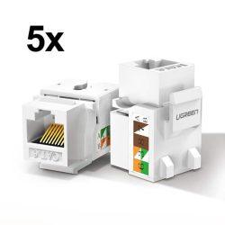 Ugreen 5x árnyékolatlan hálózati modulok Ethernet Cat 6 8P8C RJ45 1000 Mbps 568A / B, fehér (80.179 NW143)