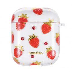 Kingxbar AirPods Case Szilikon védő doboz AirPods fejhallgató Strawberry tok telefon tok hátlap